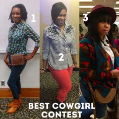 Vote for the best dressed cowgirl! Winner gets a $50 gift card. 1,2, or 3? #cowgirl #bestdressed