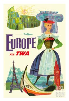 Europe - Trans World Airlines Fly TWA Giclee Print at Art.com