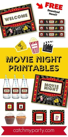 Host a fun stay at home movie night for your friends and family! See more party ideas and share yours at CatchMyParty.com #catchmyparty #partyideas #movienightparty #freemovienightprintables #movienightpartydecorations #socialdistancing