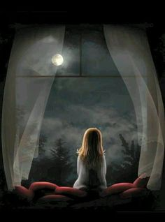 """""""At night when the stars light up my room, I sit by myself talking to the moon. Try to get to you in hopes you're on the other side talking to me too. Or am I a fool who sits alone talking to the moon"""" Good Night Moon, Beautiful Moon, Moon Art, Nocturne, Anime Art Girl, Night Skies, Oeuvre D'art, Fantasy Art, Art Photography"""