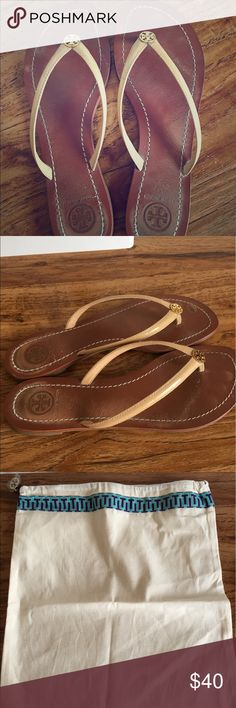 Tory Burch Sandals I'm selling my Tory Burch sandals. Slightly worn. Very comfortable. Only selling because I haven't worn them for a while. They've been kept in their dust bag. Tory Burch Shoes Sandals