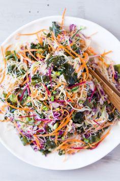 vegan rice noodle salad with sesame dressing plated