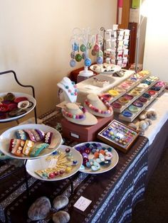 Mill Girl: Craft Show Display - I like the idea of using dishes, bowls, serving platters