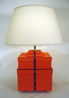 Lamp made of Hermes boxes The shade def needs to be changed.
