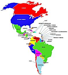 Mapa con los países de América