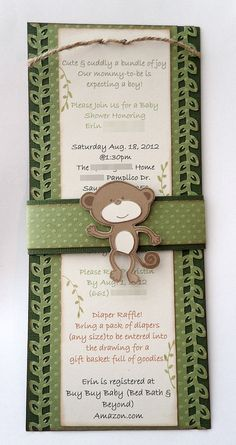 FREE SHIPPING!!! 20 Monkey Baby Shower Invitations Custom Handmade and Envelopes Detailed One Of A Kind on Etsy, $75.00
