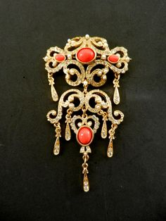 Large opulent  neoclassic pin By SPHINX 60s dangle by RAKcreations