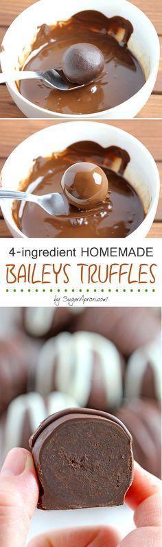 340 g hakket chokolade 4 spsk Baileys 2 spsk fløde 1/2 tsk vanilleekstrakt chokolade til overtræk
