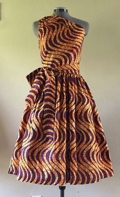 Make a Statement African Wax Print One Shoulder Dress by WithFlare                                                                                                                                                                                 Mais