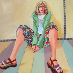 Daily Painting Checkered contemporary figure, painting by artist Carolee Clark
