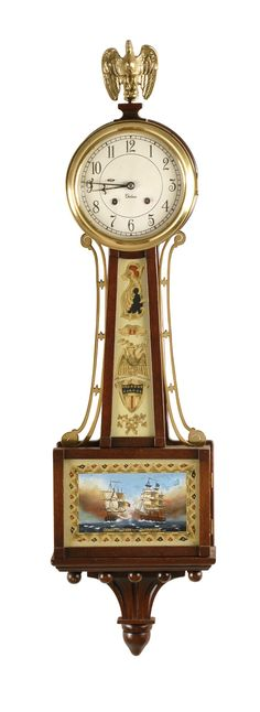 CHELSEA BANJO CLOCK 20th Century In mahogany case. Reverse-painted throat glass in foliate design with eagle and shield. Lower door glass d...http://www.dailykos.com/story/2014/01/21/1271403/-Florida-Republican-calls-for-hanging-President-Obama?detail=email