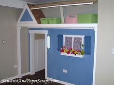 Diy Playhouse Closet, love the way that the roof was done to take advantage of the space