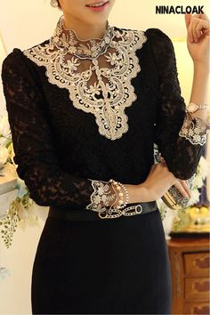# Appliqué # Polyester # elegant # women's fashion tops # autumn / winter / spring # Stand collar # Fashion In, Womens Fashion, Korean Fashion, Fashion 2017, Fashion Online, Fashion Music, Ladies Fashion, Trendy Fashion, Fashion Trends