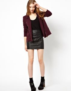 burgundy zip jacket and leather skirt <3