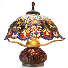 "Tiffany-Style 18"" Jewelese Floral Double Lit Stained Glass Table Lamp ShopHQ.com"