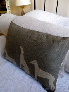 hand printed greys loomstate linen grey hound whippet triptyque cushion cover. $76.00, via Etsy.