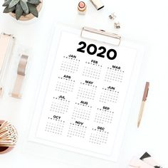 Printable calendar 2020 wall calendar, year at a glance desk calendar minimalist calendar, 2020 annual calendar 2020 planner yearly calendar Printable Calendar 2020, Yearly Calendar, Printable Planner, Printables, Mental Health Journal, Desk Calendars, Planner Inserts, Perfect Skin, Bullet Journal Inspiration