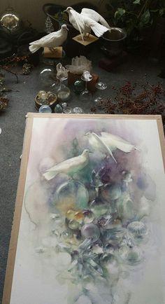 Yuko Nagayama Watercolor Artists, Watercolor Animals, Watercolor Techniques, Watercolor And Ink, Watercolor Flowers, Watercolor Paintings, Watercolours, Art And Illustration, Illustrations