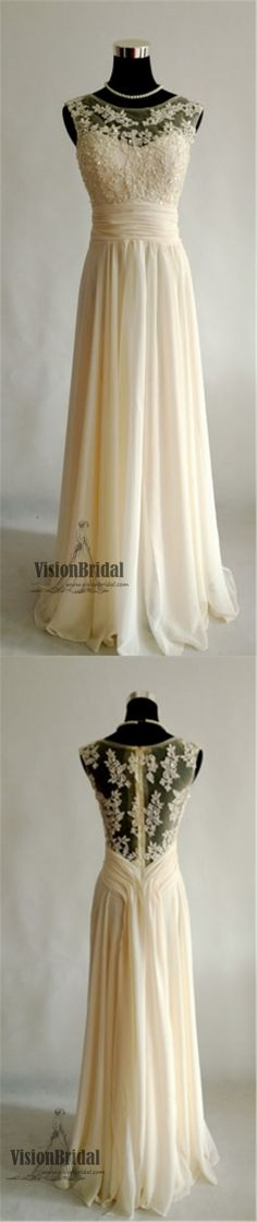 https://visionbridal.com/collections/prom-dresses/products/round-neck-sleeveless-lace-applique-with-beaded-chiffon-prom-dress-ivory-a-line-long-prom-dress-vb0224 #promdress