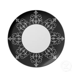 Black And White Fleur Design Dinner Plates-Add beautiful elegance to your table with these fleur design dinner plates. Customize as you like. Change the background color of black to any color that fits your decor. You can even add your name or monogram to the center.