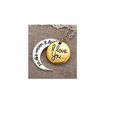 """Gold Charm Necklace, with the endearing sentiment, """"I love you to the moon and back"""". features charm and crescent moon in gold and silver overlay. Gift-Boxed."""