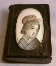 ANTIQUE JAPANESE VESTA MATCH SAFE MOTHER OF PEARL & BONE