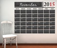 Chalkboard Calendar (With Free Numbers Through 2017) Vinyl Wall Decal Sticker
