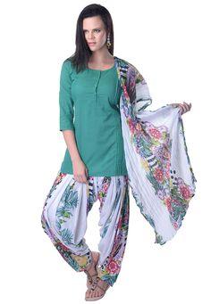 Teal Blue Cotton Readymade Salwar Kameez: KTV114