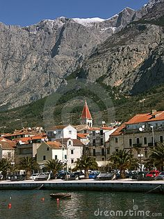 Part of Makarska landscape with mountain Biokovo, Croatia