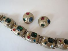VTG Castlecliff Jeweled Bracelet W/ Earrings by DecatiqueStudios, $105.00