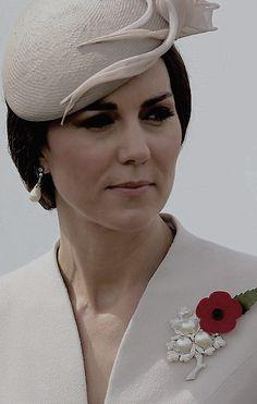 Catherine, Duchess of Cambridge wearing HM's Pearl Flower Brooch