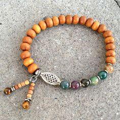Sandalwood and jasper mala style bracelet – Lovepray jewelry