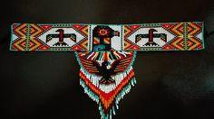 Collar Huichol Native Beading Patterns, Native Beadwork, Seed Bead Patterns, Peyote Patterns, Seed Bead Necklace, Seed Bead Jewelry, Beaded Jewelry, Native American Patterns, Native American Beading