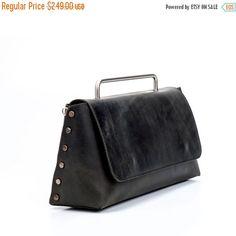 Black Leather Handbag  / Women Purse / Crossbody Bag / Shoulder Bag  / Tote Bag / Big Bag / Every Day Bag  / Medium Elegant Bag - Rocky