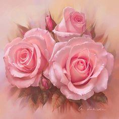 Dejame capturar en las pinceladas de la vida, los tonos sensuales de las rosas  ~ painting of pink roses