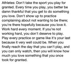 athletes: don't take the sport you play for granted