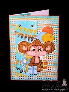 Birthday card using Birthday Maycee Monkey (New Release August 2012) & Happy Birthday Circular Sentiment