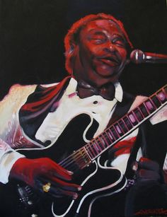 "BB King - ""Lucille and Me"". Acrylic on canvas portrait by Kim Overholt."