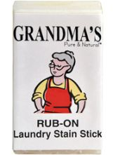 Grandma's Stain Stick. 1. Wet stick and stain. 2. Rub stick on stain. 3. Rub stain together to dislodge stain. 4. Launder as usual. *Best when used on fresh stains.
