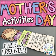 Mothers Day Activities for Kids Plus a FREEBIE This Mother's Day Flip Book is fun, easy, and will go along with the other gift ideas and crafts Weather Activities For Kids, Father's Day Activities, Activity Days, Ocean Activities, Mother's Day Theme, Kindergarten Readiness, Kindergarten Crafts, Teacher Freebies, Mothers Day Crafts For Kids