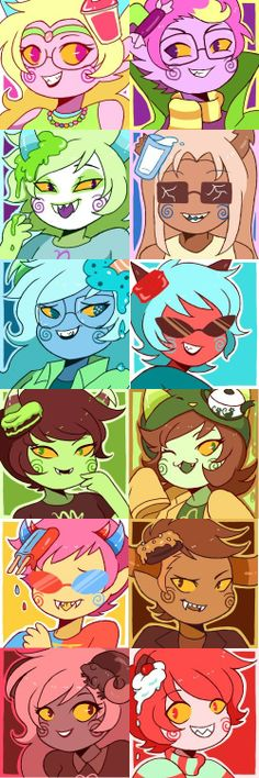 Trickster!Trolls :D credit to playbunny on tumblr.<---I just noticed that it is set up according to their blood colors, with Feferi being the highest and Karkat the lowest.