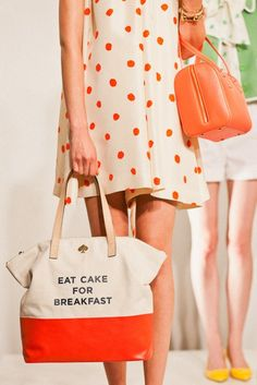 {Eat Cake for Breakfast} Kate Spade Spring 2012 - cute bag! =) kate spade (probably bc we basically have the same name =) i just like that her purses say kate on them) =) Stuffed Animals, Mode Cool, Vogue, Breakfast Cake, Fashion Deals, Fashion Trends, Fashion Kids, Fashion Shoes, Girl Fashion