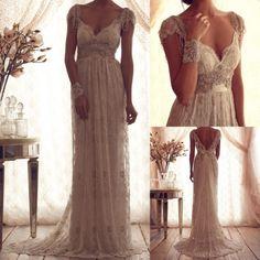 Best Vintage V-Neck Sheer Cap Sleeve Wedding Dress Beaded Lace Bridal Gown