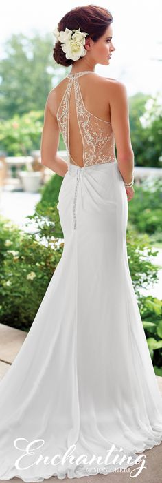 Enchanting by Mon Cheri Spring 2017 Wedding Gown Collection - Style No. 117192 - sleeveless chiffon wedding dress with beaded blouson bodice and illusion keyhole back