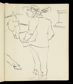 Henri Gaudier-Brzeska 'Sketch of a woman wearing a hat looking at a horse', [c 1912–1913]