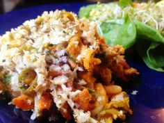 """Vegan4One: Macaroni and Cheese (and Veggies!) - The """"cheese"""" sauce is made from Roasted Butternut Squash and Roasted Carrots! YUMMERZ!"""