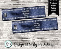 Denim and Diamonds party decorations Denim and Diamonds Sixteenth Birthday, 55th Birthday, Country Chic Decor, Diamond Party, Diamond Decorations, Denim And Diamonds, Birthday Party Celebration, Water Party, Water Bottle Labels