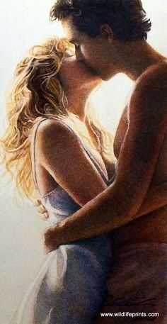 """A man and a woman share a passionate kiss in this Steve Hanks print. This print is signed and is available unframed in size 8""""x15"""""""