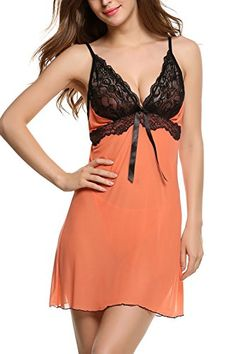 Avidlove Womens Pajama Sexy Lingerie Lace Sling Erotic Underwear Mesh Babydolls Set Orange FBA XL -- Be sure to check out this awesome product. Note:It is Affiliate Link to Amazon.