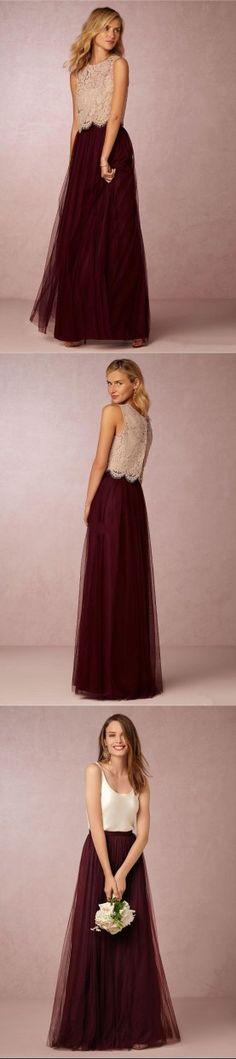 Vintage Lace Burgundy Two Piece Bridesmaid Dresses 2016